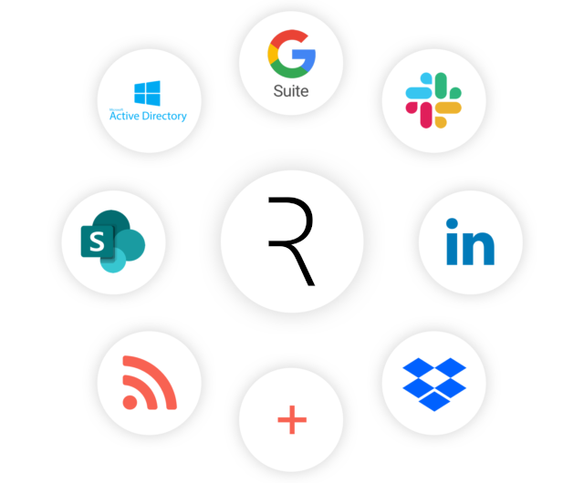 Web Design: Rippital logo in the middle with platforms like G Suite and LinkedIn being on the outside