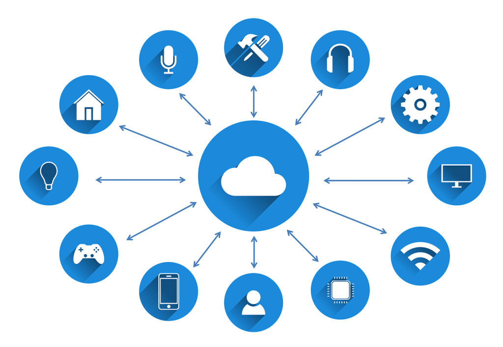 White cloud icon in blue circle with 14 blue icons around it
