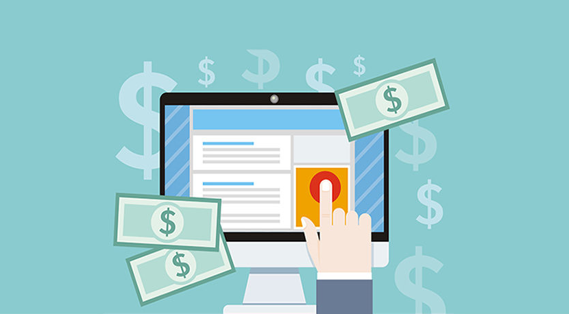 Computer illustration showing PPC with 2 dollar bills